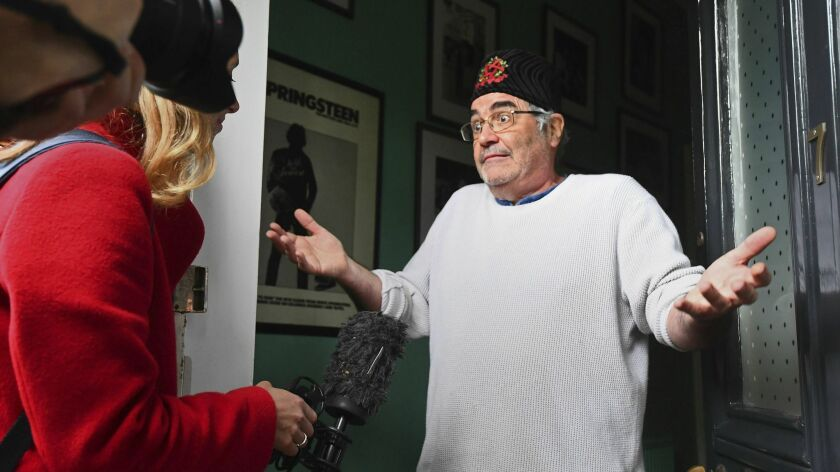 Danny Baker speaks to the media at his London home on Thursday, May 9, 2019. A BBC DJ has been fired