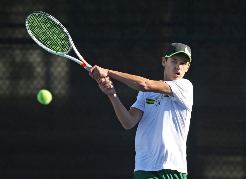 Edison number one player Jason You hits a backhand winner during Wave League tennis match against La