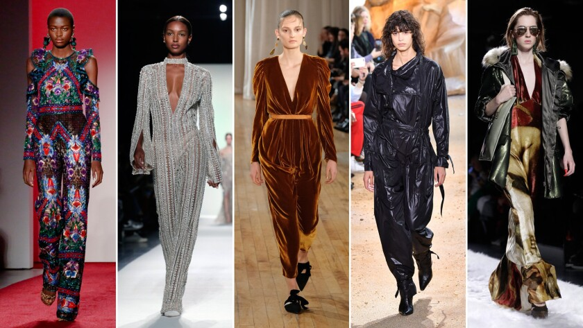 Jumpsuits return to fashion, from left: A Naeem Khan with exposed shoulder detail; Jonathan Simkhai crystal-encrusted long-sleeve jumpsuit; Ulla Johnson velvet jumpsuit; Lacoste; and one from Jeremy Scott.
