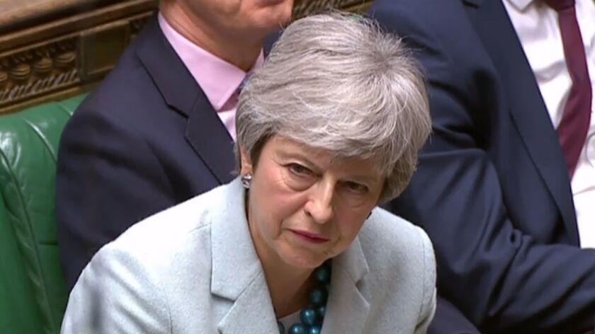 British Prime Minister Theresa May in London's House of Commons on March 25.