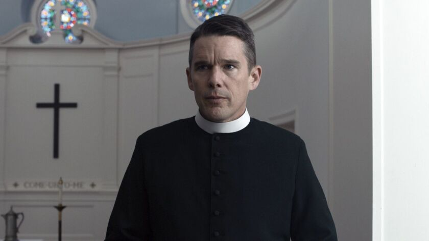 "This image released by A24 shows Ethan Hawke in a scene from ""First Reformed."" (A24 via AP)"
