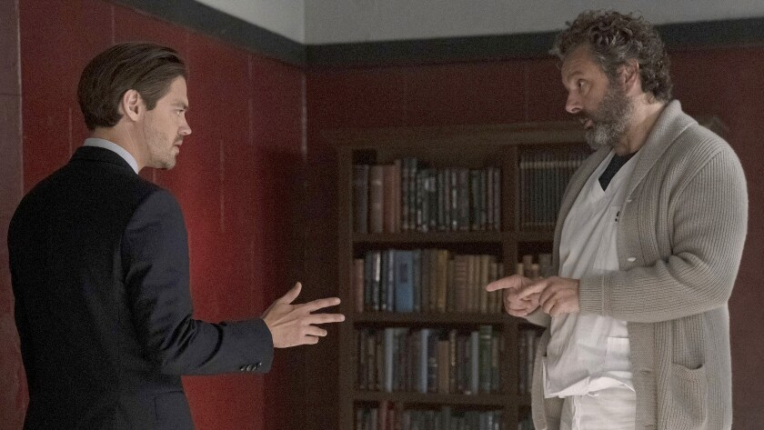 """Tom Payne, left, and Michael Sheen in a new episode of """"Prodigal Son"""" on Fox."""