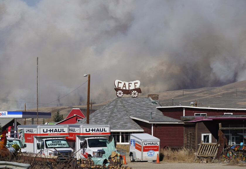 Smoke rises Thursday from a wildfire near Granby, Colo.