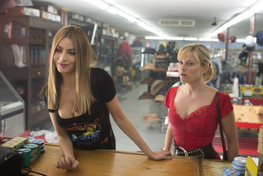 """Reese Witherspoon, right, and Sofia Vergara costar in """"Hot Pursuit,"""" which opened with a soft $13.3 million."""