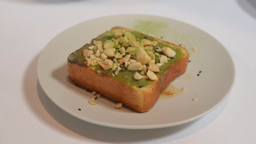 Matcha toast from the American Tea Room.