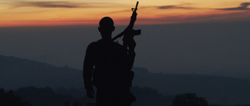 "A member of an Autodefensa (citizens defense group) stands guard in the Mexican state of Michoacán. Matthew Heineman's new documentary, ""Cartel Land,"" captures the complexity of the drug wars in both Mexico and the U.S."