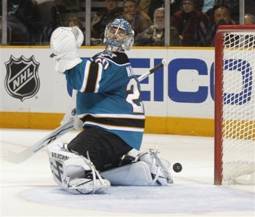San Jose Sharks' goalie Evgeni Nabokov looks back after Calgary Flames Olli Jakonin scored a goal in the second period of an NHL hockey game, Saturday, Dec. 5, 2009 in San Jose, Calif. (AP Photo/George Nikitin)