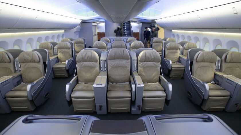 Business seating in the life–size display of the interior of the new 747–8 Intercontinental in Rento