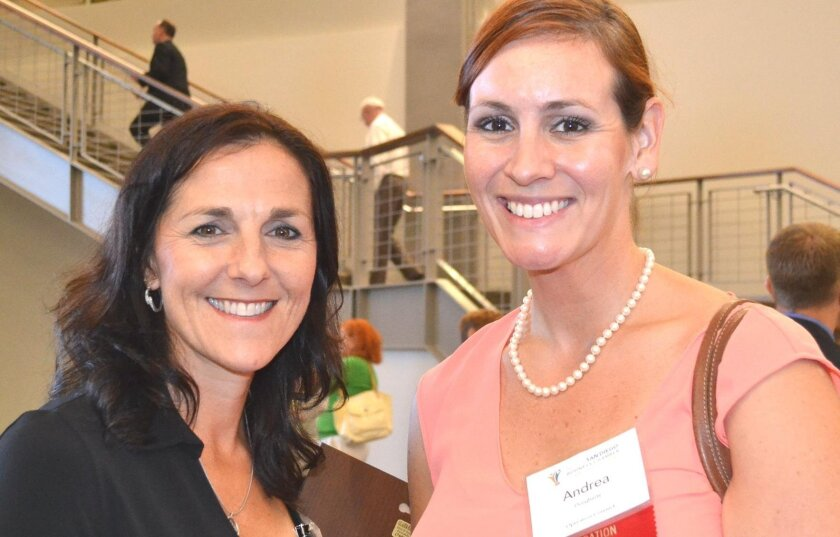North San Diego Business Chamber Operation Connect mentor April Langwell with Operation Connect graduate Andrea Dougherty at a chamber mixer last fall.