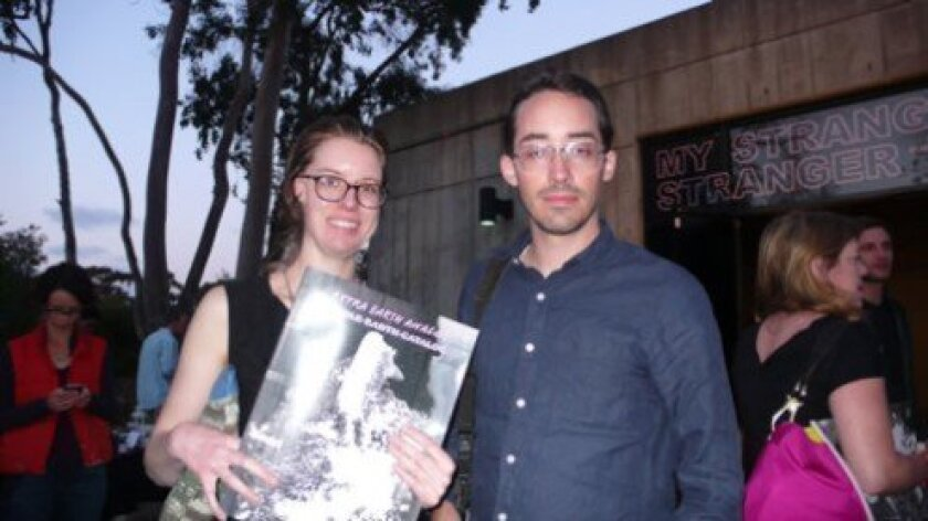 Ariel Evans and Josh Conrad with their magazine, Pastelegram, infront of the UAG. Photos by Will Bowen