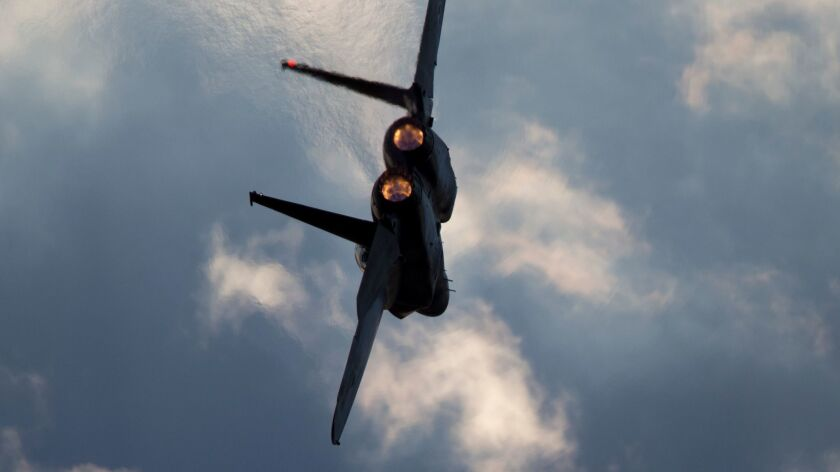 An Israeli air force F-15 plane is shown in flight on Dec. 29, 2015, during a graduation ceremony for new pilots at the Hatzerim base near the southern city of Beersheba.
