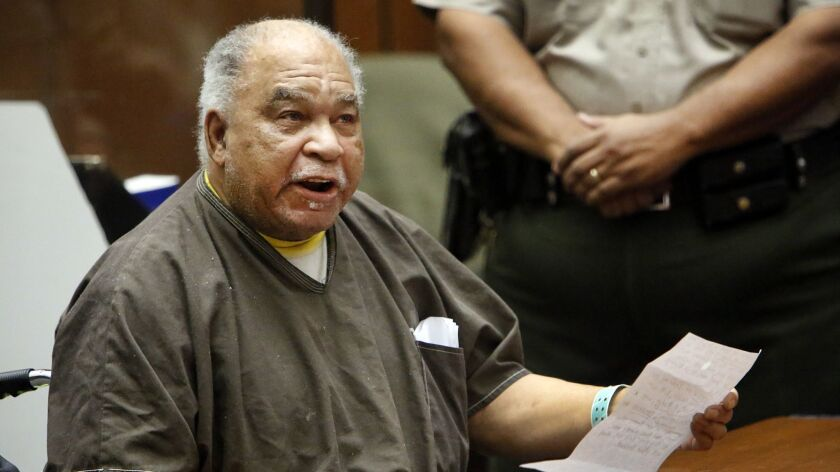 Convicted serial killer Samuel Little reads a statement to a Los Angeles court during his sentencing in 2015.