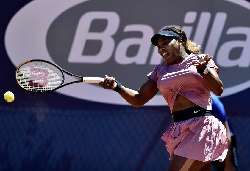 Serena Williams hits a return Monday at the Emilia Romagna Open.