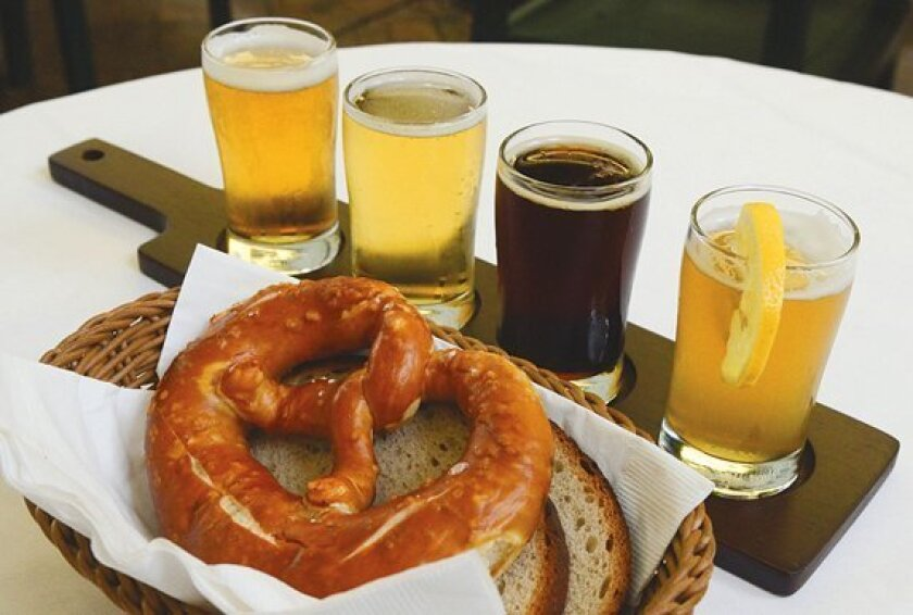 A flight of beers at Kaiserhof Restaurant may consist of varieties such as Paulaner Pils, Kaiserhof Kölsch, 'Korbinian' Weihenstephaner Doppelbock and 'Vitus' Weihenstephaner Weizenbock. Hot German pretzels are available in regular or giant sizes.