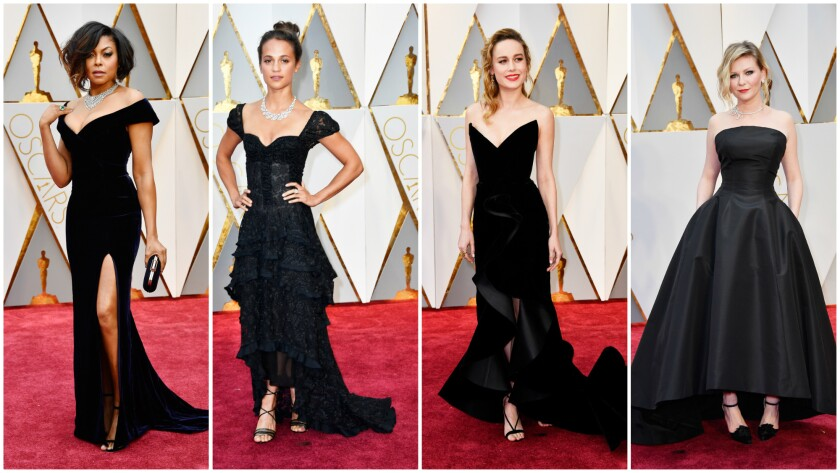 Taraji P. Henson, from left, Alicia Vikander, Brie Larson and Kirsten Dunst were among the women channeling Old Hollywood glamour on the 2017 Oscars red carpet.