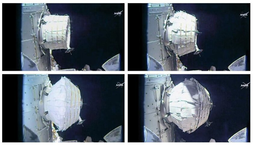 This combination of images provided by NASA shows the inflation of a new experimental room at the International Space Station on Saturday, May 28, 2016. Saturday was NASA's second shot at inflating the Bigelow Expandable Activity Module (BEAM), named for the aerospace company that created it as a p