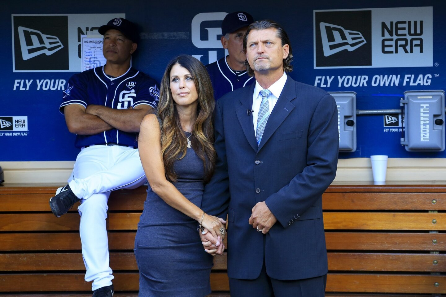 On Saturday evening at Petco Park in San Diego, former Padres pitcher Trevor Hoffman standing in the Padres dugout with his wife Tracy was honored when he was inducted into the Padres Hall of Fame.
