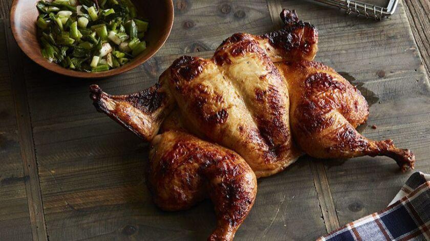 Roger Mooking's Pineapple-Rum Brushed Basket Chicken.