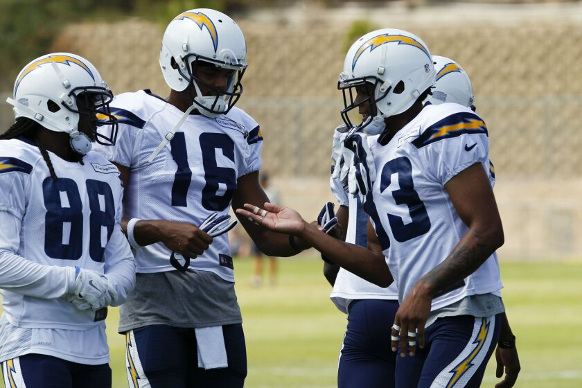 SAN DIEGO, CALIFORNIA, USA -- AUGUST 3, 2016: ...Chargers Deandre Reaves, Tyrell Williams and Torrence Allen during Wednesday practice...Mandatory Credit: PHOTO BY NELVIN C. CEPEDA, SAN DIEGO UNION-TRIBUNE