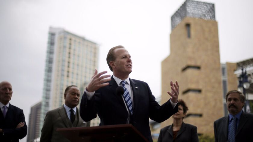 Republican supporters have urged San Diego Mayor Kevin Faulconer, shown in 2015, to run for governor.