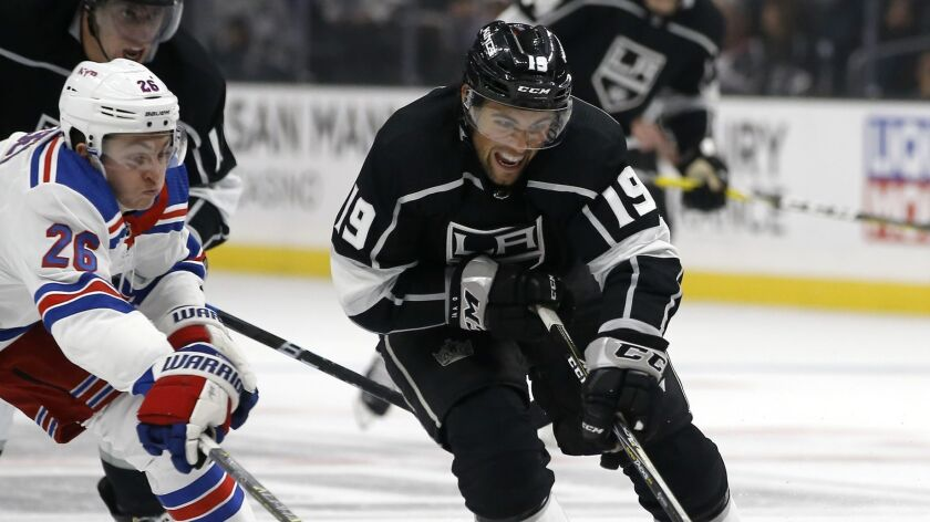 Kings left wing Alex Iafallo controls the puck during a game against the New York Rangers on Oct. 28.
