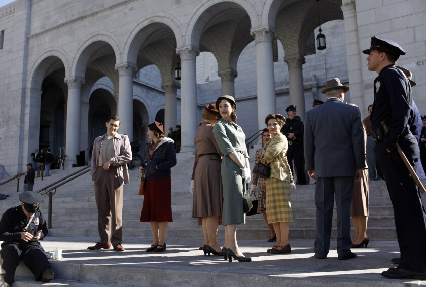 "This scene from 2013's ""Gangster Squad"" was filmed at Los Angeles City Hall. The production of feature films in Los Angeles County has fallen by half since 1996, according to FilmL.A. Inc."