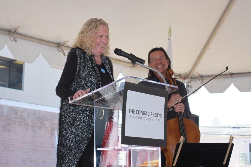La Jolla Music Society president and artistic director Kirstin Lancino emcees the groundbreaking.