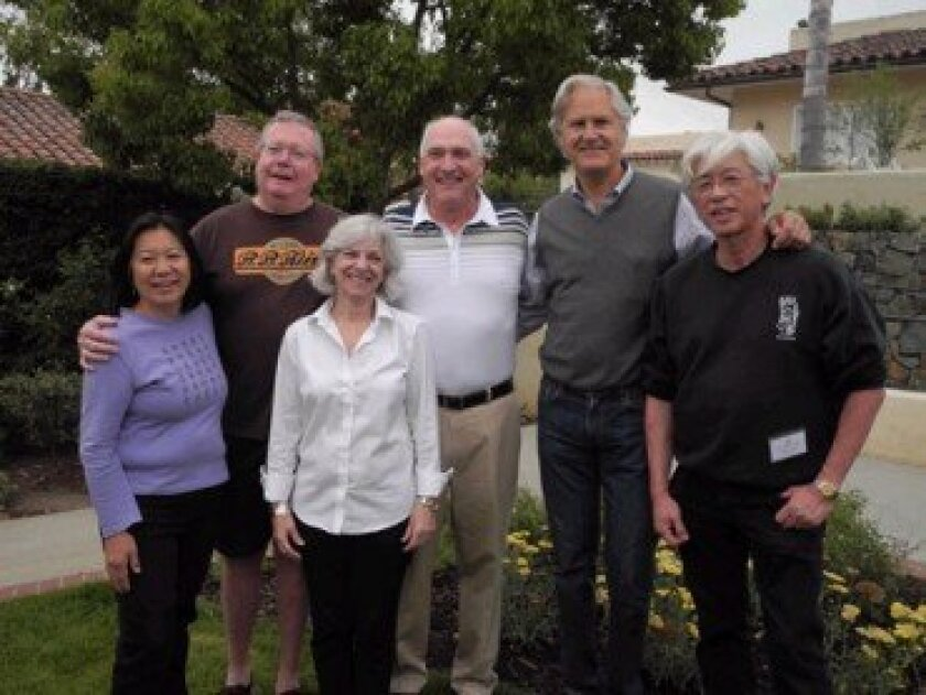 ASIJ Class of '68 reunion organizers (left to right): Kathy Chih, Glenn Colville, Toni Dyktor Mullen, Frank Terschan, Nick Connor, Marty Honda
