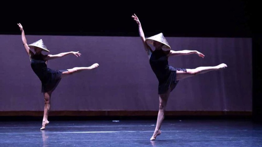 """Festive Devotions,"" choreographed by Norbert De La Cruz III and danced by Stephanie Kim and Jessica Gadzinski."