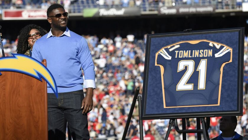 Former San Diego Chargers running back LaDainian Tomlinson was inducted into the team Hall of Fame on Nov. 22, 2015 in San Diego.