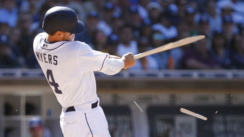 Wil Myers breaks his bat in the eighth inning against the Milwaukee Brewers on Opening Day at Petco Park this season.