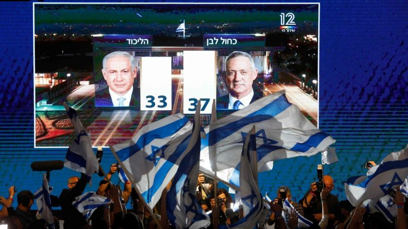 Supporters of the Benny Gantz's Blue and White party greet an early TV exit poll showing their party with a slight lead over Prime Minister Benjamin Netanyahu's Likud.