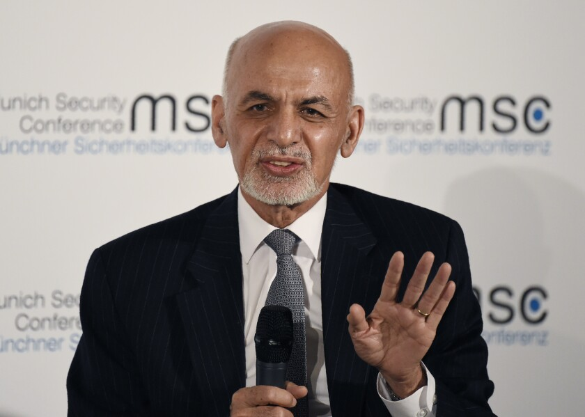 Afghan President Ashraf Ghani speaks Feb. 15 at the Munich Security Conference in  Germany.