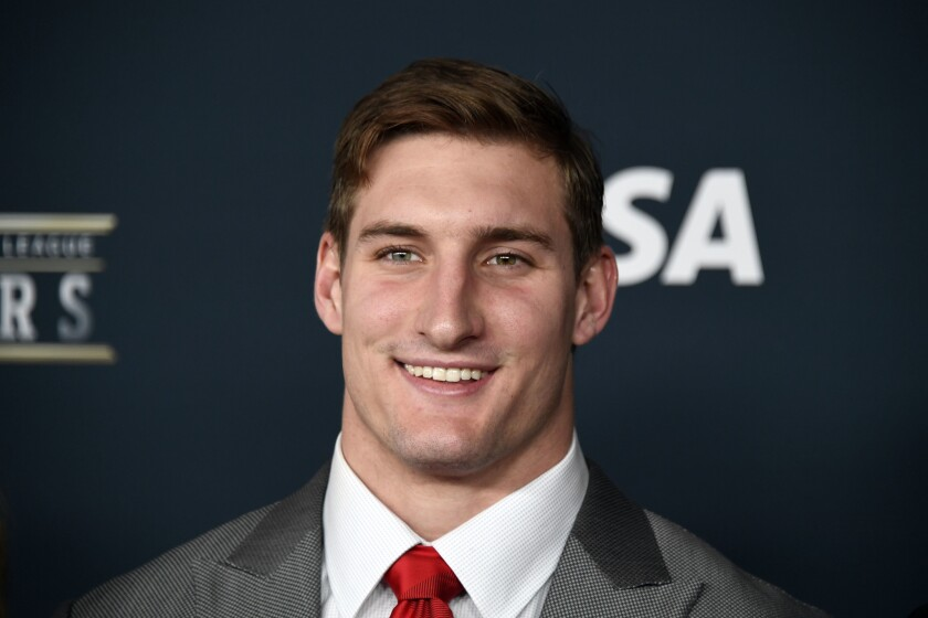 Los Angeles Chargers defensive end Joey Bosa arrives on the red carpet prior to the 6th Annual NFL Honors at Wortham Theater.