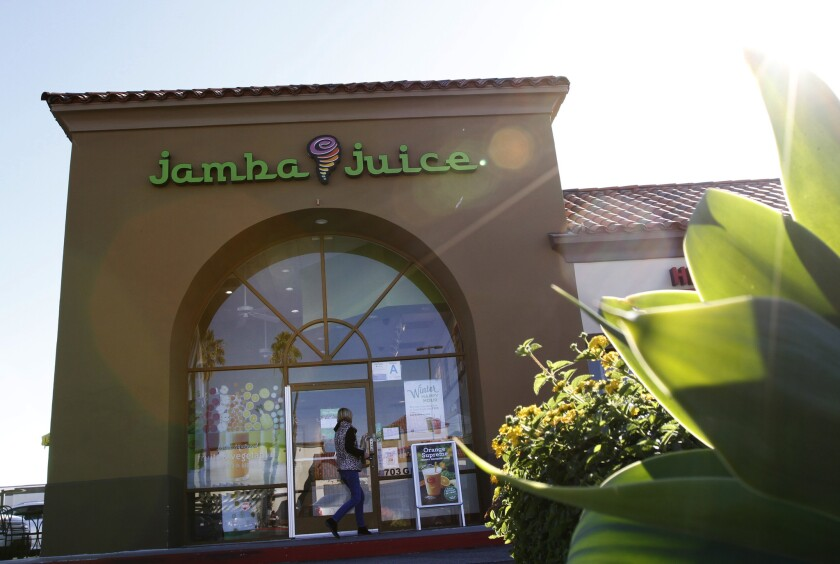 A Jamba Juice store in Hermosa Beach is shown. Jamba Juice says it will move its headquarters from Emeryville, Calif., to Texas.