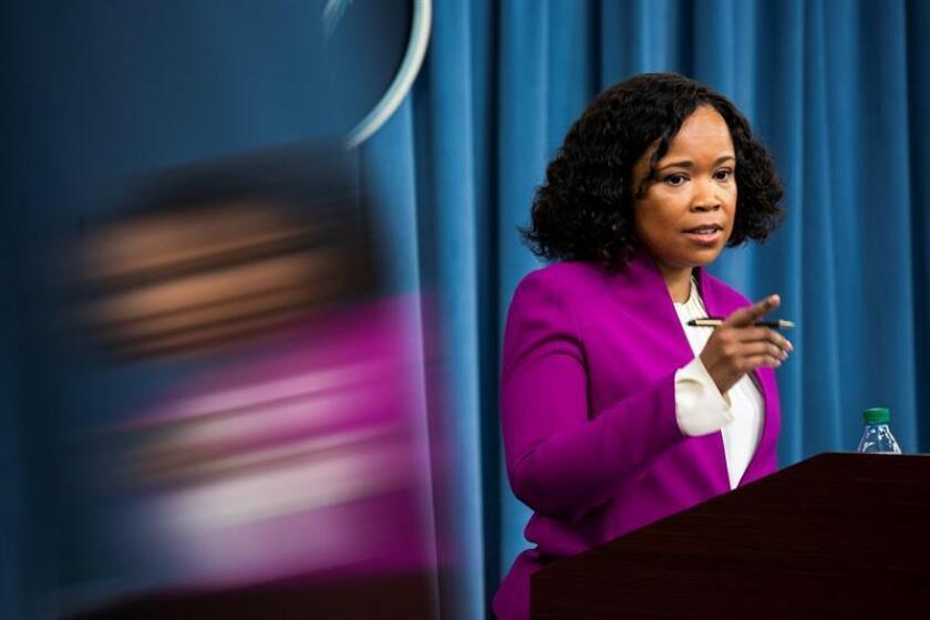 Department of Defense spokesperson Dana White, 14 April 2018. EFE/EPA/FILE