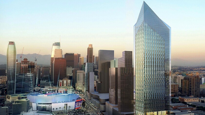 TriCal Construction is seeking city approval to build this 1,024-room hotel complex at 1300 S. Figueroa St. in downtown Los Angeles.