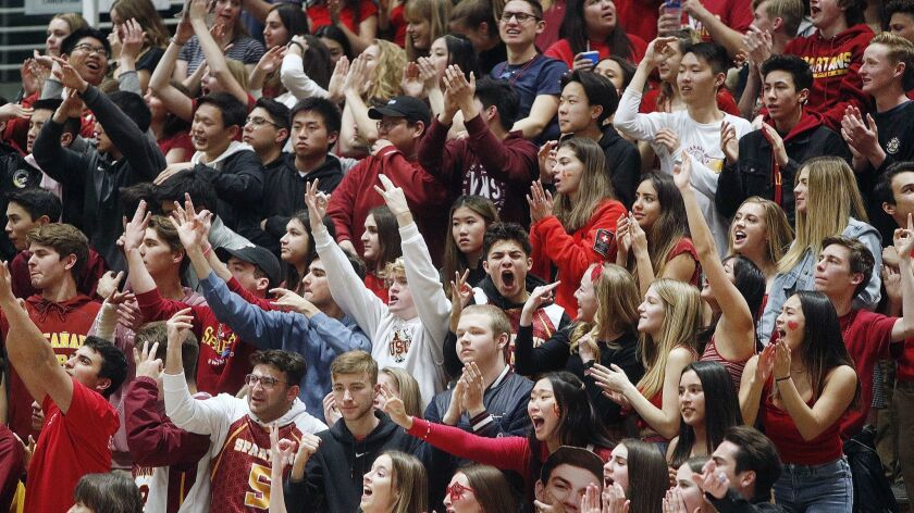 The La Canada student section during the game against Colony in the CIF Southern Section Division II