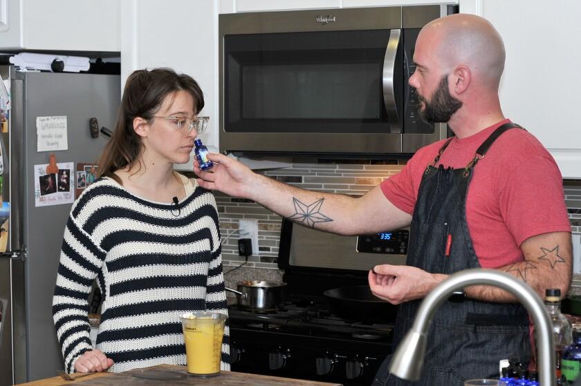 Chef Brandon Allen demonstrates the varied aromas that terpenes emit.
