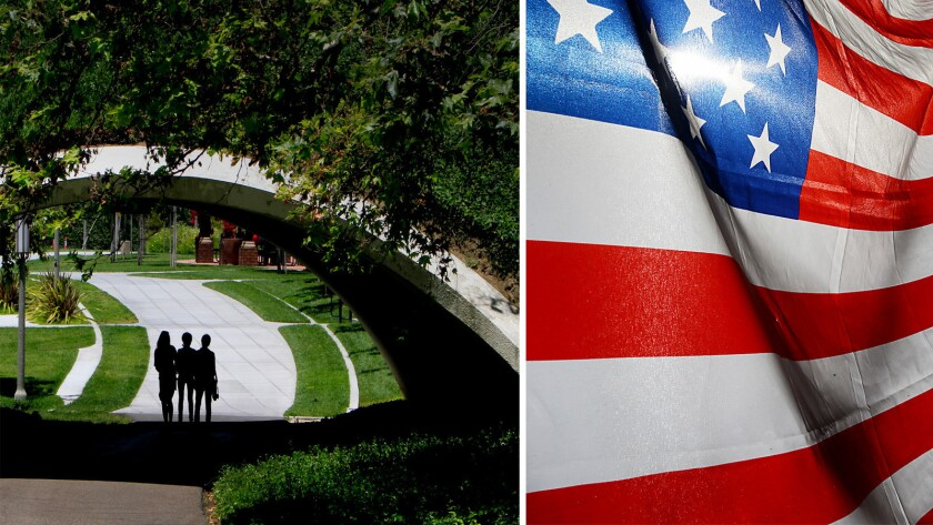 The issue of whether to fly the American flag -- and flags from other nations -- in the common lobby area of student government offices at UC Irvine, right, has caused some controversy.