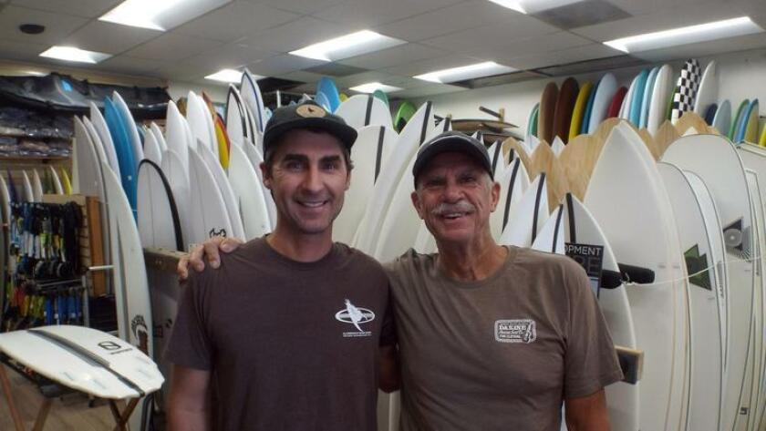 Dan, left and his father Steve O'Connell run the highly successful Clairemont Surf Shop, which opened 40 years ago on Balboa Avenue. (Courtesy photo)