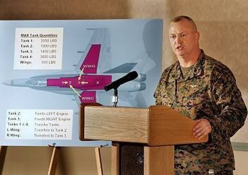 Col. John Rupp, operations officer, 3rd Marine Aircraft Wing, speaks to the press at Miramar Marine Corps Air Station about the Dec. 8 crash in University city.