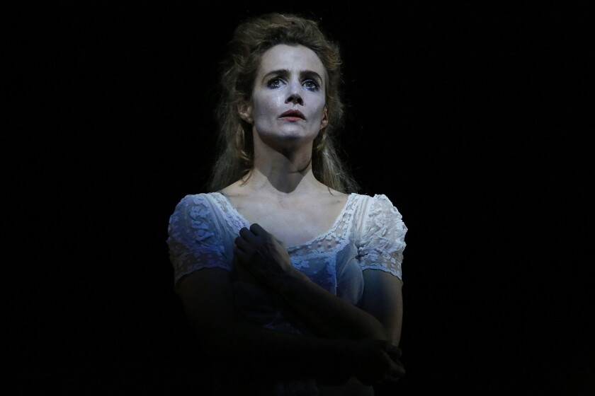 "Lisa Dwan performs in the ""Beckett Trilogy"" at the Broad Stage in Santa Monica."