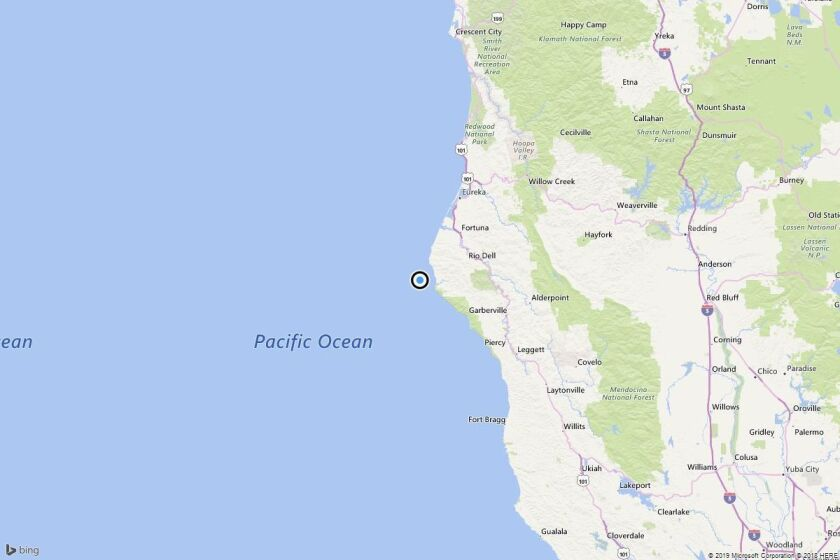 A map showing the location of the epicenter of Sunday afternoon's quake near Petrolia, Calif.