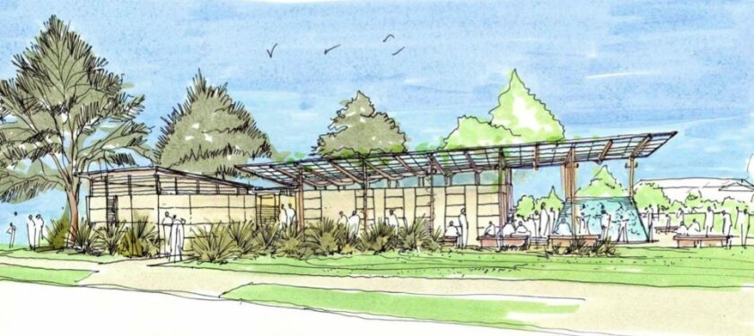 A sketch of the proposed Cove Pavilion planned for Ellen Browning Scripps Park with improved 'flow.' Courtesy