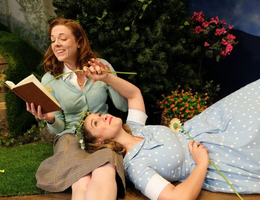 """Kate Rose Reynolds as Eveline and Katee Drysdale as Kathleen in Scripps Ranch Theatre's """"And Neither Have I Wings to Fly."""""""