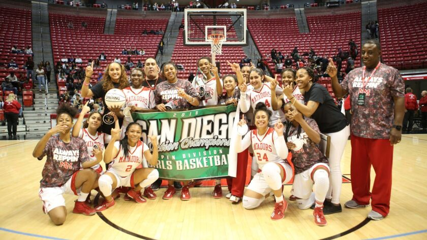 Mission Hills vs. Mount Miguel in the San Diego Section Open Division high school girls basketball championship game played at the San Diego State's Viejas Arena.