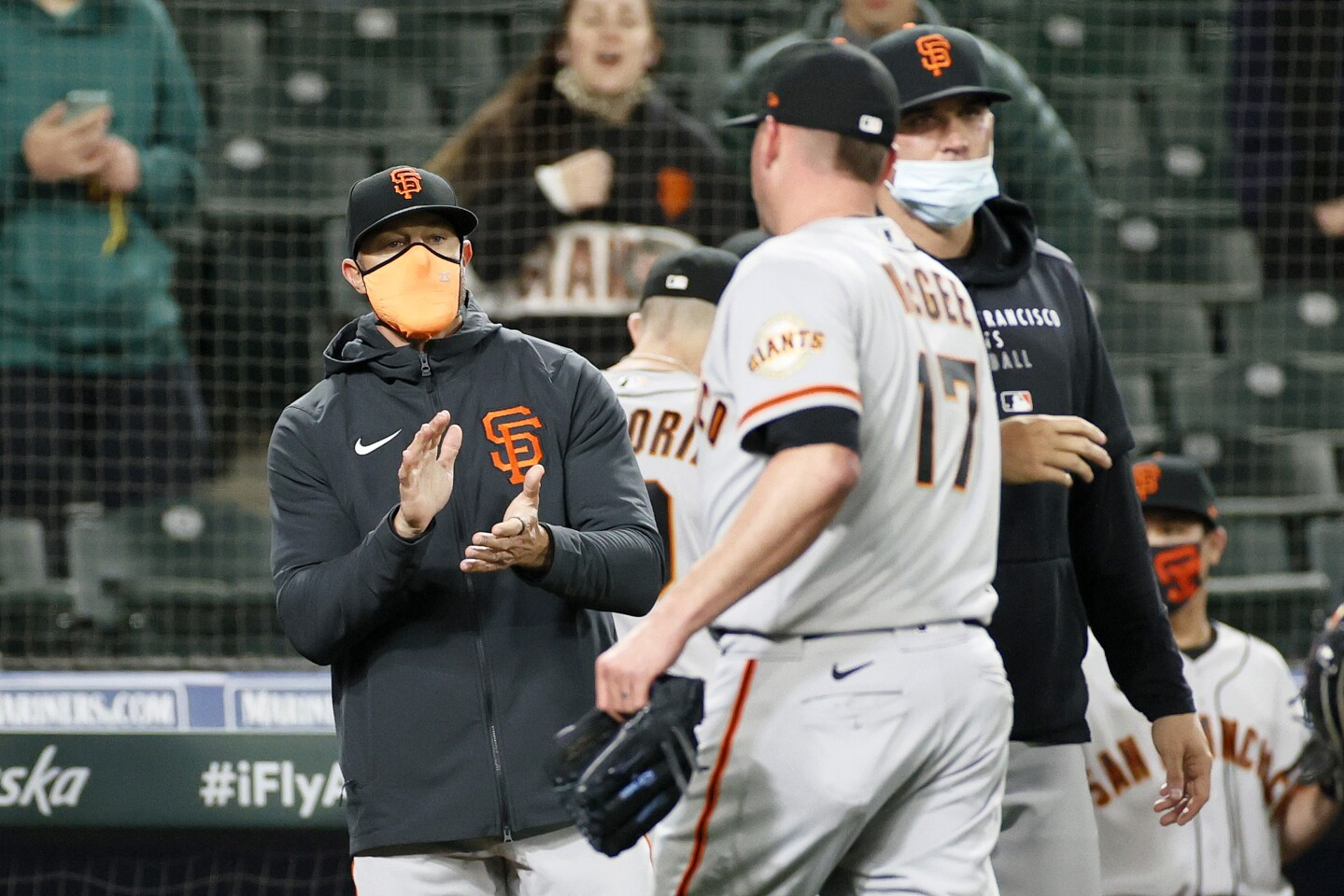 SEATTLE, WASHINGTON - APRIL 02: Manager Gabe Kapler of the San Francisco Giants reacts after defeating the Seattle Mariners 6-3 at T-Mobile Park on April 02, 2021 in Seattle, Washington. (Photo by Steph Chambers/Getty Images)