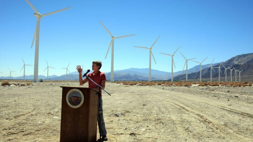 Sally Jewell speaks at wind farm