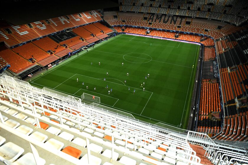 A general view of the UEFA Champions League round of 16 second leg match between Valencia CF and Atalanta BC in Valencia on Tuesday.